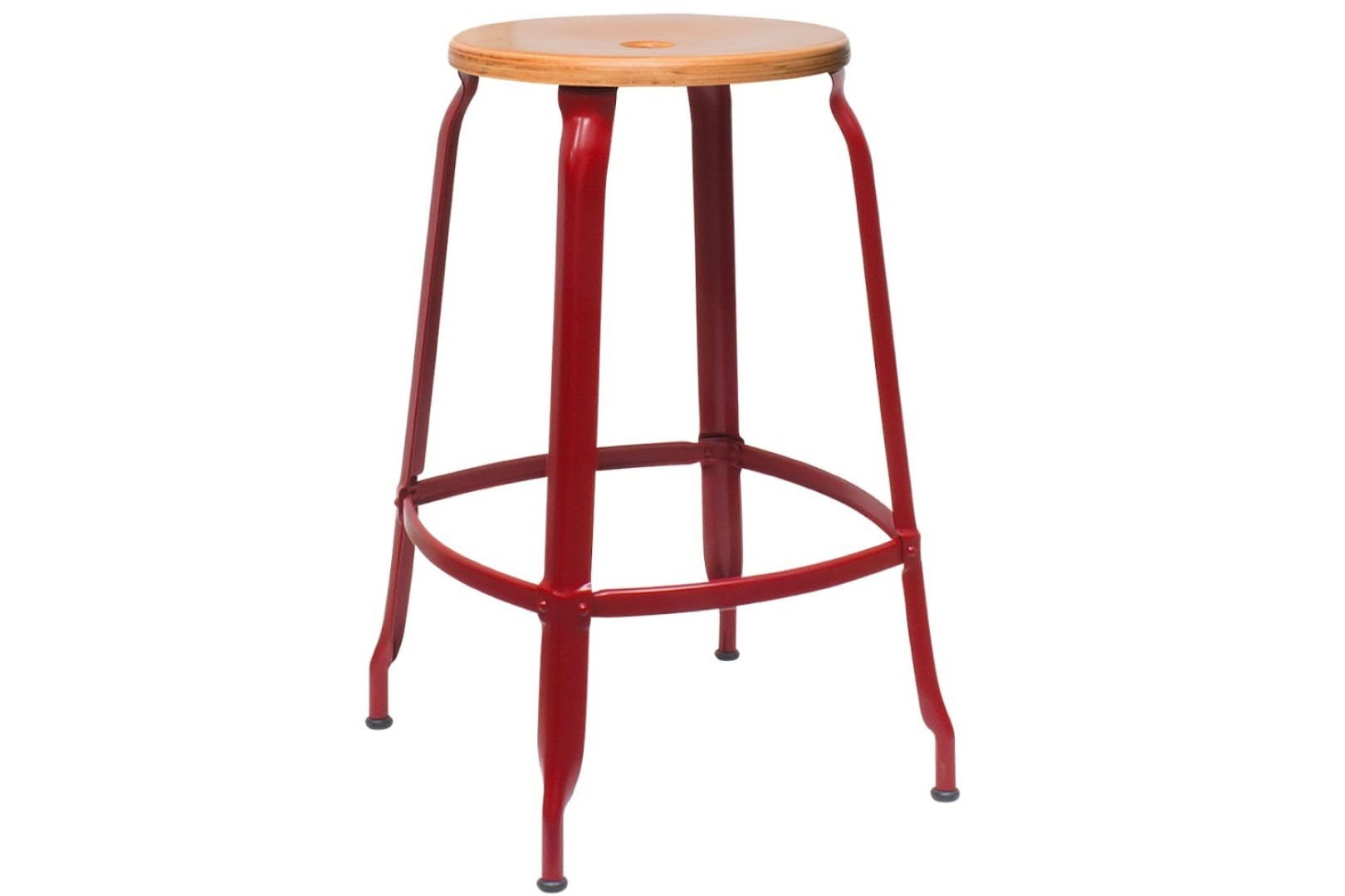 Stool 60 - Metal and Wood - Red Brown and Natural