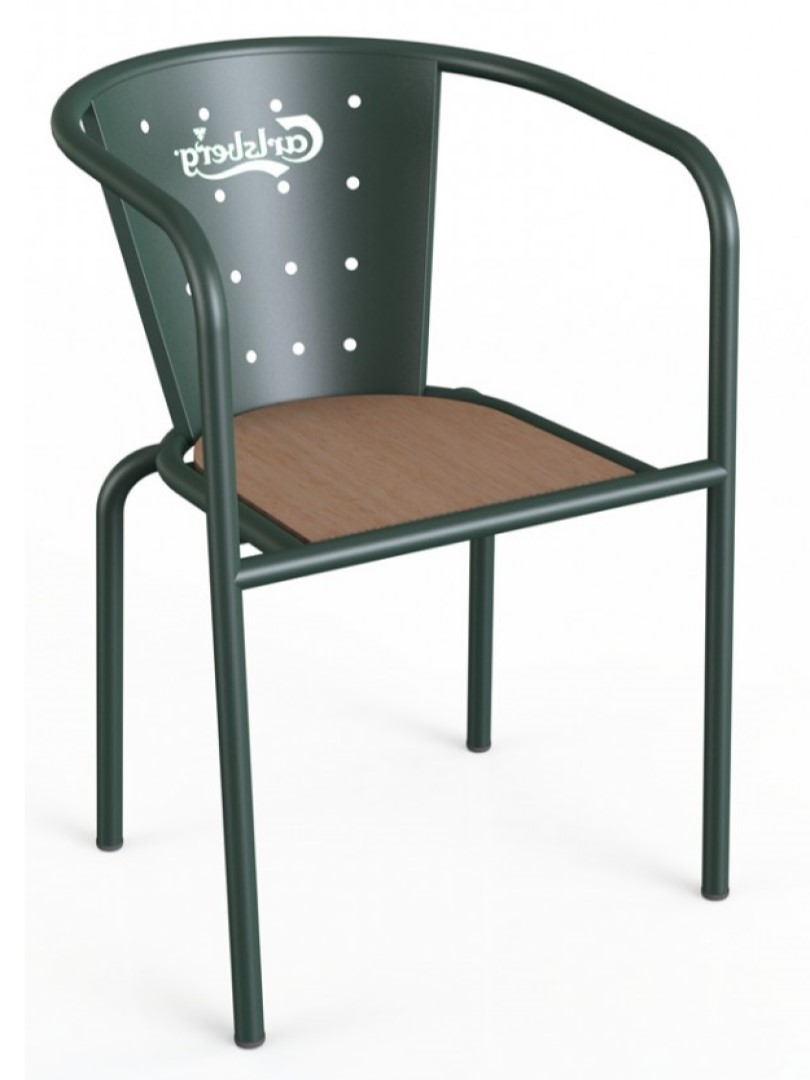 Francisca Wood and Metal Chair with Logo