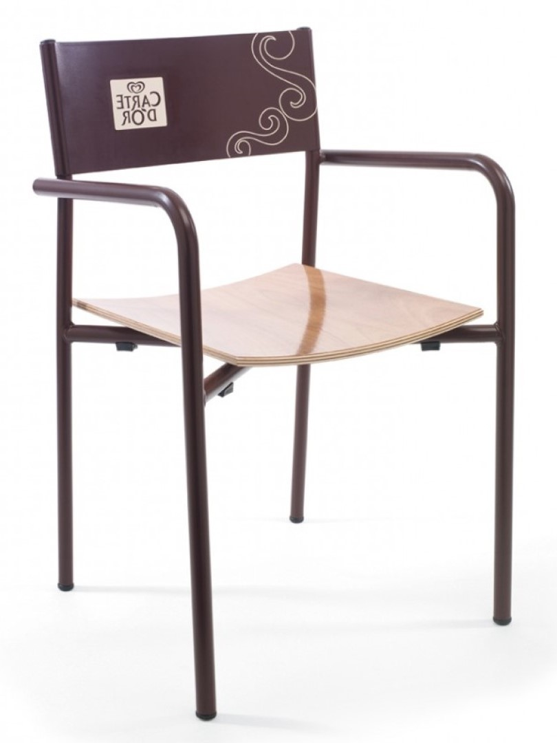 Raquel Wood and Metal Chair with Logo