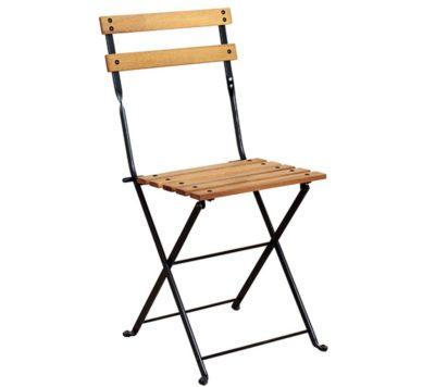 5503T-BK Side Chair - African Teak Slats and Black Frame