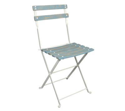 Dijon Chair - Chestnut Slats - Aged Wood Finish - Blue