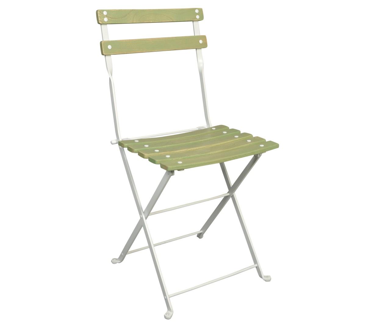 Dijon Chair - Chestnut Slats - Aged Wood Finish - Green