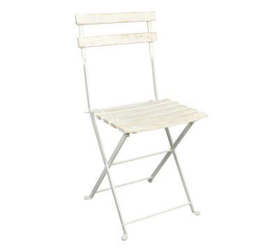 Dijon Chair - Chestnut Slats - Aged Wood Finish - White