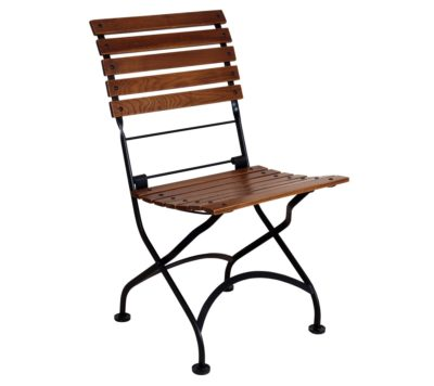 Isabelle Chair 5509CW-BK Folding Side Chair with Chestnut Slats - Walnu Finish and Jet Black Frame