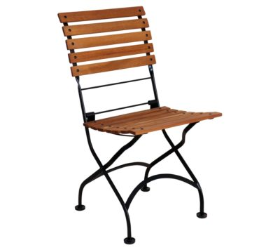 5Isabelle Chair 5509T-BK Folding Side Chair with African Teak Slats and Jet Black Frame