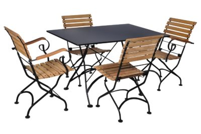 4111S-BK Metal Table and 5509T-BK Chairs and 5510T-BK Armchairs