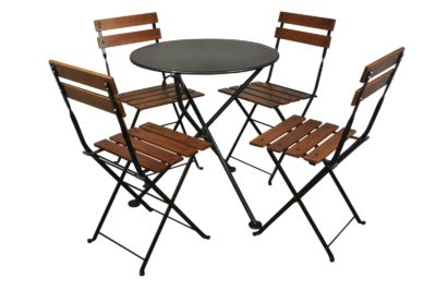 4140S-BK Metal 3-Leg Table 28ø and 5502CW-BK Chairs