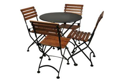 4140S-BK Metal 3-Leg Table 28ø and 5504CW-BK Chairs