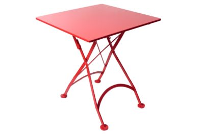 4122S-RD Metal Table with Flame Red Top and frame 24 x 24